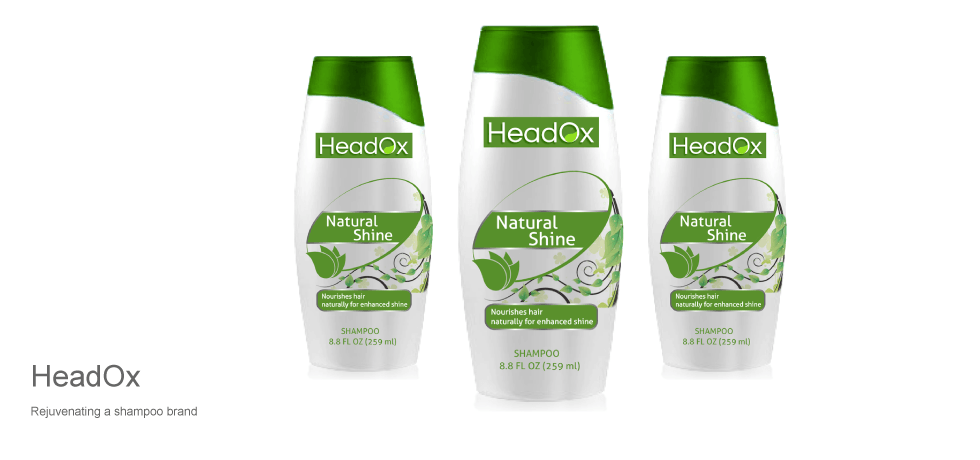 headox shampoo logo and packaging design